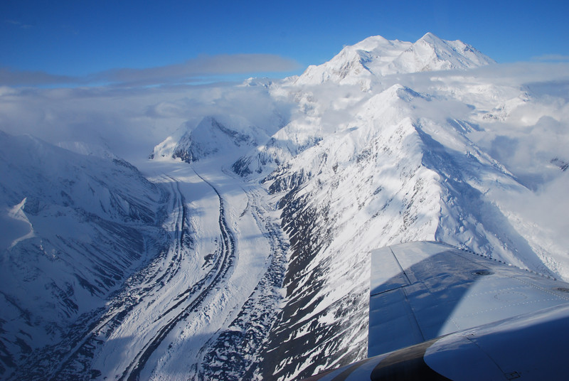 Denali summit and the Traleika glacier.