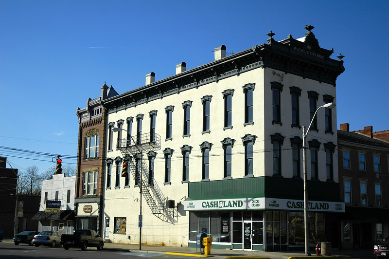 Bucyrus City Bank on square in Bucyrus, Ohio