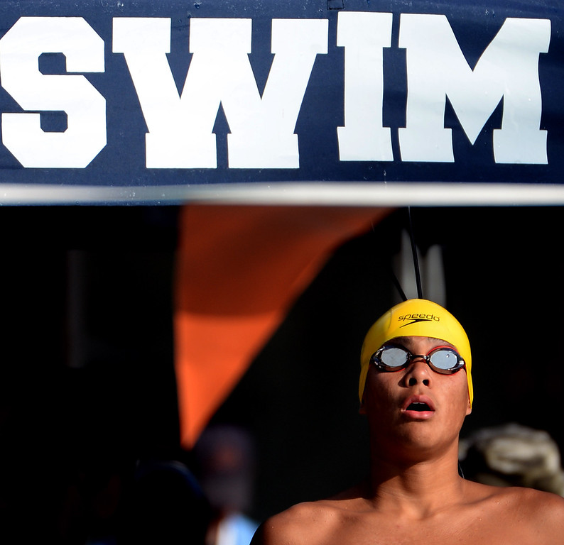 . Notre Dame\'s (Riverside) Roman Sarmiento prepares for the 200 yard freestyle during the Division 4 CIF Southern Section Swimming Championships in the Riverside Aquatics Complex at Riverside City College in Riverside, Calif., on Friday, May 16, 2014.  (Keith Birmingham/Pasadena Star-News)