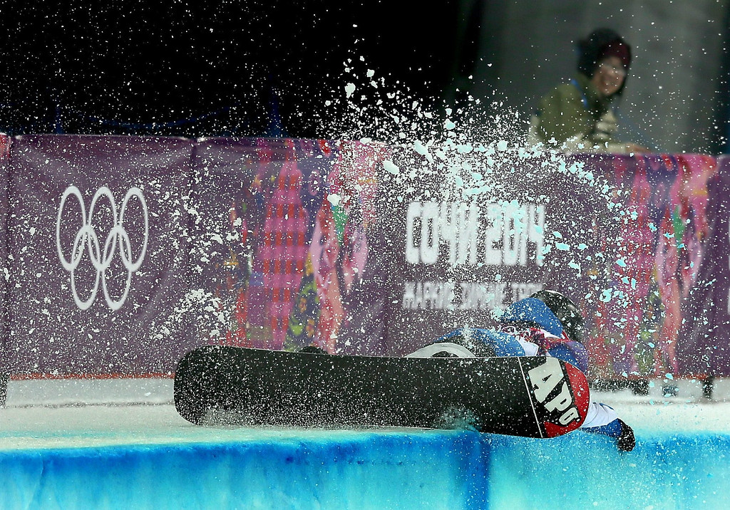 . Johann Baisamy of France wipes out during the Mens Snowboard Halfpipe Semifinals at Rosa Khutor Extreme Park at the Sochi 2014 Olympic Games, Krasnaya Polyana, Russia, 11 February 2014.  EPA/SERGEY ILNITSKY