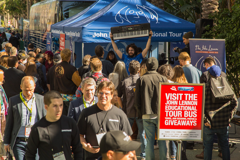 2017_01_26, Anaheim, CA, NAMM, gabe smith, owc, tents and tours, bus exterior, giveaways, crowd