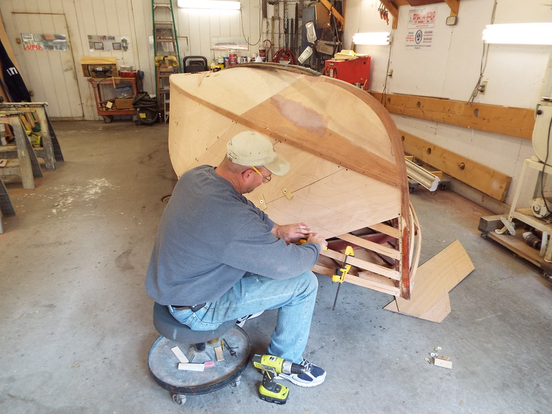 Front view of the port plywood skin being fit.