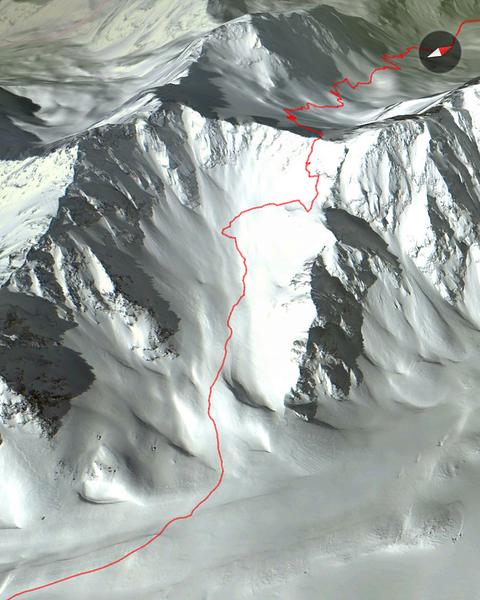 Ski Touring at Val Thorens, 2nd climb