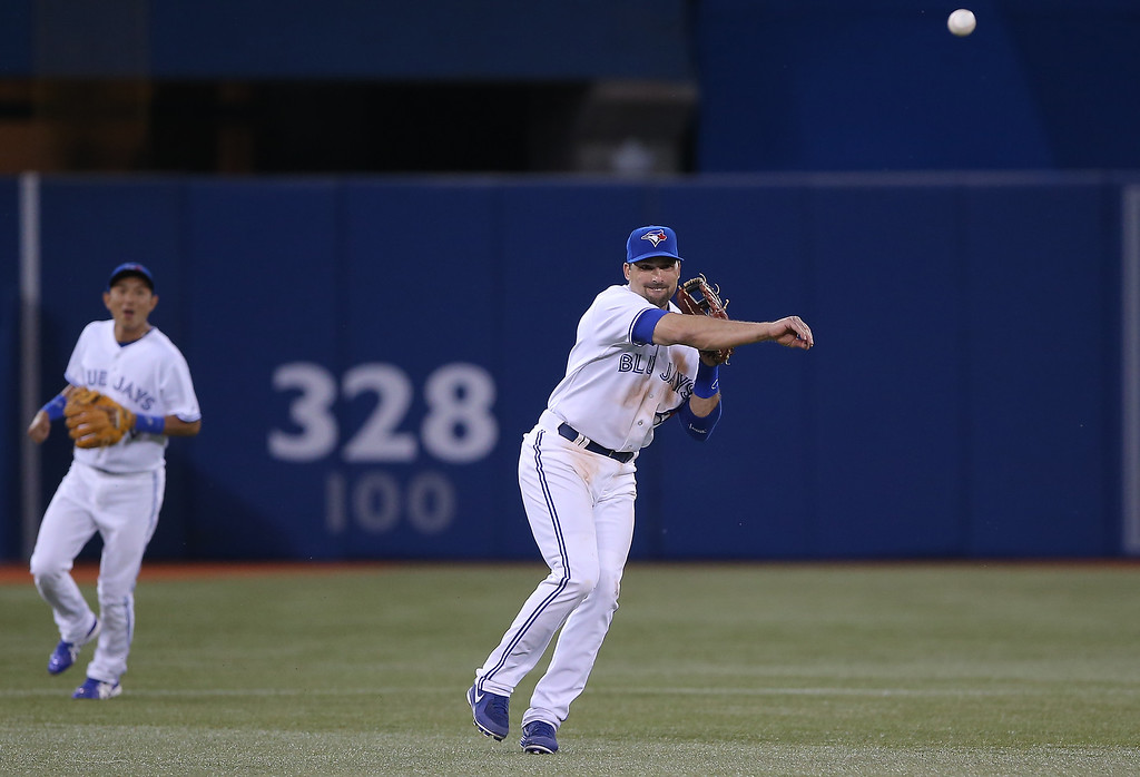 . Mark DeRosa #16 of the Toronto Blue Jays throws out the baserunner in the eighth inning as Munenori Kawasaki #66 watches during MLB game action against the Colorado Rockies on June 18, 2013 at Rogers Centre in Toronto, Ontario, Canada. (Photo by Tom Szczerbowski/Getty Images)