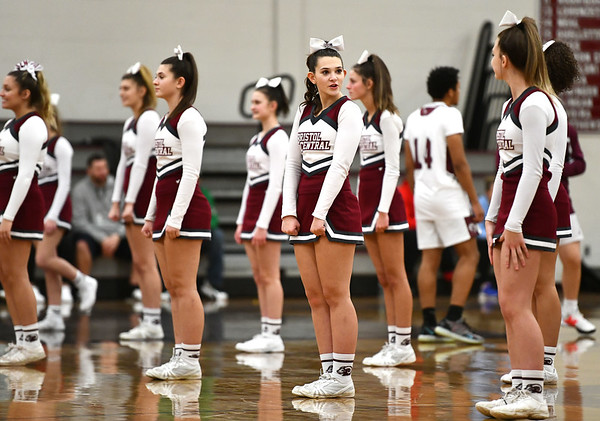 1/3/2020 Mike Orazzi | StaffrBristol Central High School Cheerleaders during Friday night's boys basketball game with New Britain in Bristol.