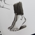 ink wash study of feet standing on tip toe