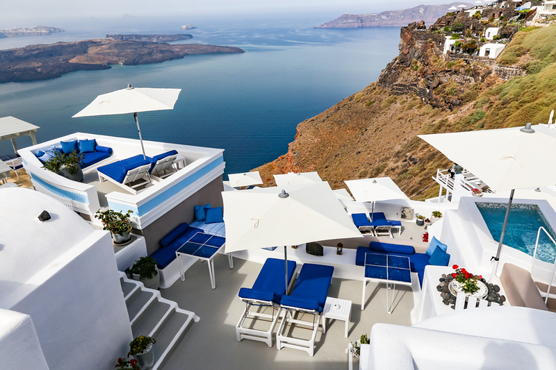 A terrace looking out over the sea in Santorini