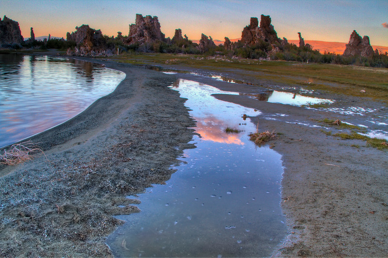 Reflections of Sunset -Tufas in the distance