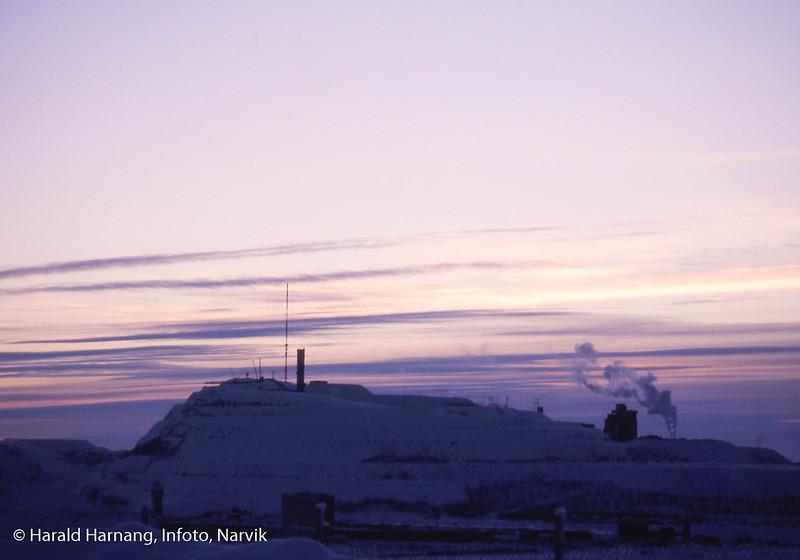 Kiruna i Nord-Sverige. Det som er igjen av toppen av Kirunavaare.