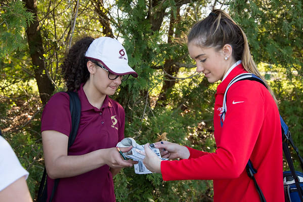 05/8/19 Wesley Bunnell | Staff Berlin girls golf defeated New Britain at Timberlin Golf Course on Wednesday afternoon. New Britain's Abby Olson, L and New Britain's Rachel Varley sign each others score cards.