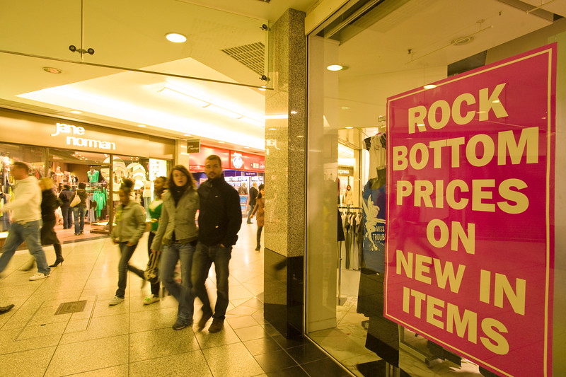 Shop displaying sale sign, Ealing Broadway Shopping Centre, W5, London, United Kingdom