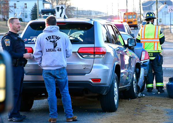 1/3/2019 Mike Orazzi | Staff The scene of a three-car crash at the intersection of Todd and Pine Streets Thursday afternoon. No injuries were reported.