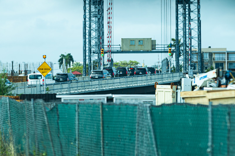 President Trump's motorcade travels west over the temporary Southern Blvd. bridge on its way to Palm Beach International Airport in West Palm Beach, FL, on Sunday, February 16, 2020. [JOSEPH FORZANO/palmbeachpost.com]
