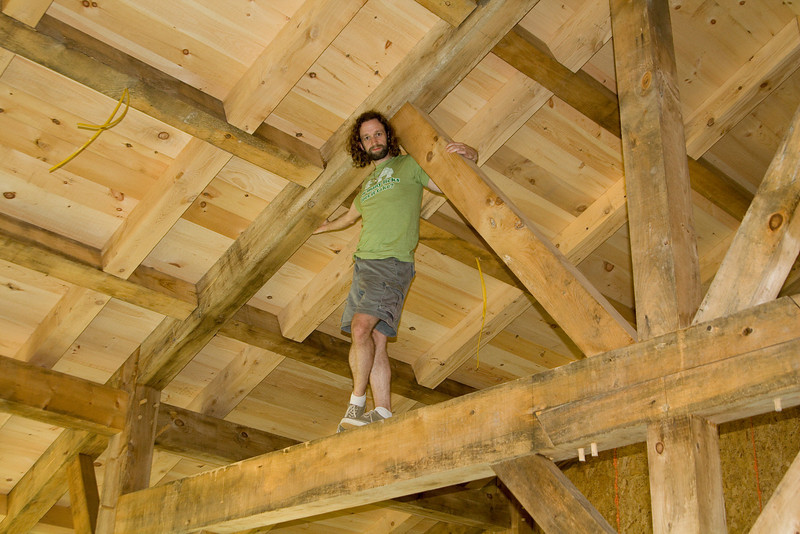 Eric in the rafters of Louis and Melissa's new house