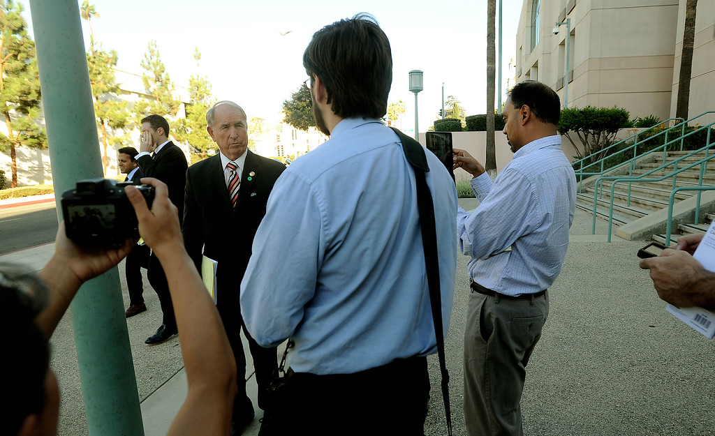 . San Bernardino mayor Patrick Morris speaks to media regarding after leaving the United States Bankruptcy court in Riverside August 28. 2013.   A Federal judge ruled that the City of San Bernardino is eligible for bankruptcy protection. GABRIEL LUIS ACOSTA/STAFF PHOTOGRAPHER.