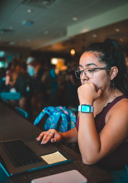 Viviana Villanueva works on her FAFSA application inside the University's personal Starbucks.