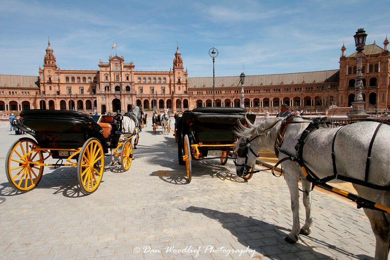 Horse carriages at Plaza de Espana - Sevilla, Spain.