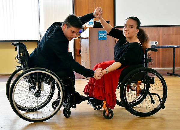 1/11/2020 Mike Orazzi | Staff Fred Astaire dancers Jonathan Slifka and Thalia Almeida perform during Saturday's Disability Expo held at the Hospital for Special Care Research and Education Center located on 370 Osgood Ave in New Britain.