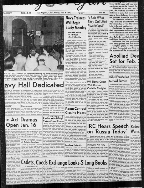 Daily Trojan, Vol. 34, No. 68, January 08, 1943