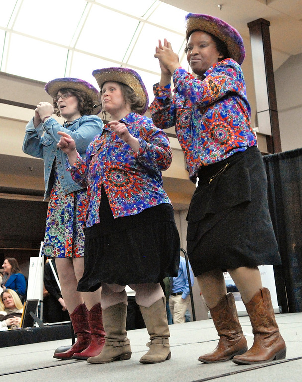 ". Jeff Forman/JForman@News-Herald.com Jessica McAndrews, left, Canesia King and Susan Murphy sing ""Boys \'Round Here\"" at the Deepwood Idol Show March 29 at the Great Lakes Mall. The show was presented by the Lake County Board of Developmental Disabilities/Deepwood."