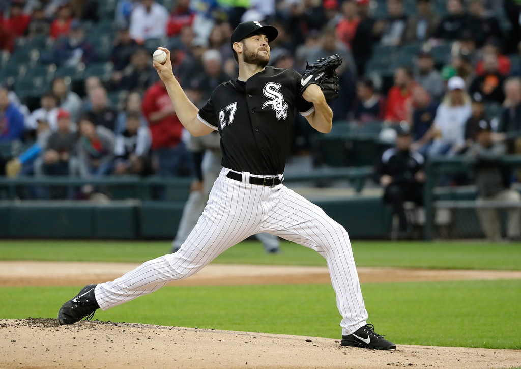 . Chicago White Sox starting pitcher Lucas Giolito delivers during the first inning of a baseball game against the Cleveland Indians Monday, June 11, 2018, in Chicago. (AP Photo/Charles Rex Arbogast)