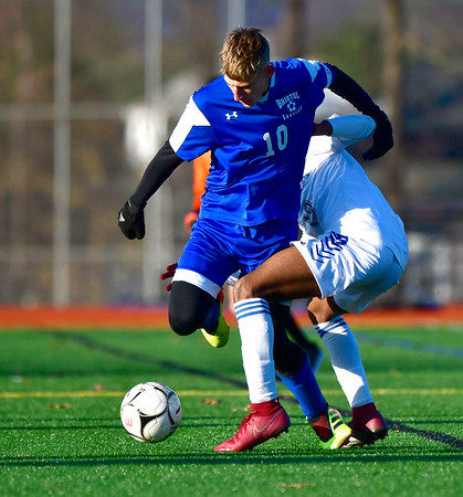 11/13/2019 Mike Orazzi | StaffrBristol Eastern's Jacob Woznicki (10) during the Class L Second Round boys soccer tournament with Bunnell High School in Bristol on Wednesday.