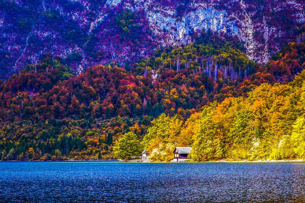 斯洛文尼亚博希尼湖(Lake Bohinj),秋色秋景