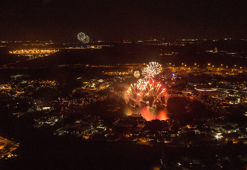 Fireworks over Universal Studios by helicopter