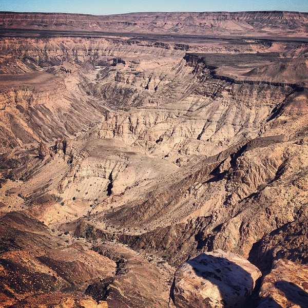 Morning look at Fish River Canyon, Namibia. World's 2nd largest - at its widest, more than 27km/16mi. #wearesmall