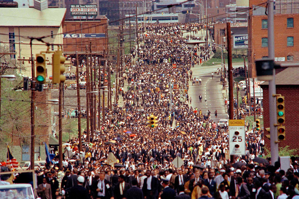 . Ebenezer Baptist Church where people came in great numbers to pay respects to a fallen leader, Dr. Martin Luther King, Jr., April 8, 1968 in Atlanta, Ga.. (AP Photo)