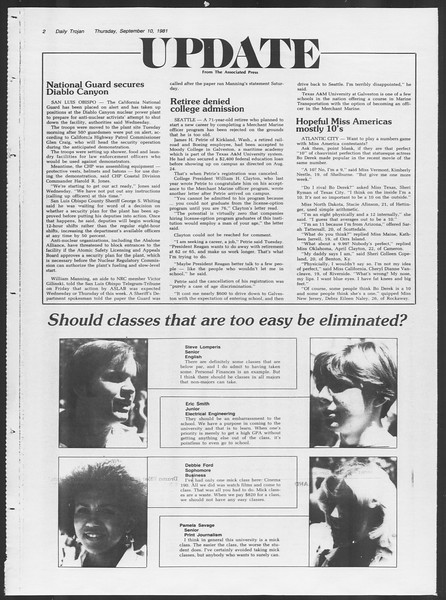 Daily Trojan, Vol. 91, No. 7, September 10, 1981