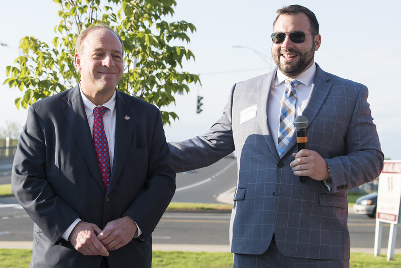 05/15/19  Wesley Bunnell   Staff  The Greater New Britain Chamber of Commerce @ Tomasso Group held an after business party with food and drinks and networking before unveiling their signature bee which is part of Bees Across New Britain.  New Britain Chamber of Commerce Interim President Kyle Kummer, speaks to the crowd while standing next to Tomasso Group's William Tomasso.