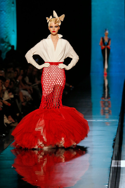 . A model presents a creation as part of the Jean-Paul Gaultier\'s Spring-Summer 2014 Haute Couture fashion collection, presented Wednesday, Jan. 22, 2014 in Paris. (AP Photo/Jacques Brinon)