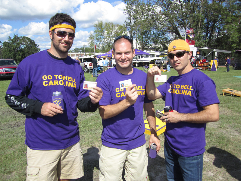 10/1/2011 ECU vs North Carolina  Preston, Jon Deutsch and Chris W with our student ID cards.