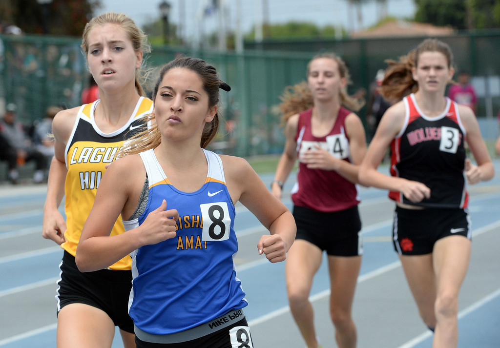 . Bishop Amat\'s Emily Hubert competes in the division 3 1600 meter race during the CIF Southern Section track and final Championships at Cerritos College in Norwalk, Calif., Saturday, May 24, 2014.   (Keith Birmingham/Pasadena Star-News)