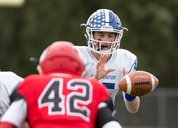 11/28/19 Wesley Bunnell | Staff Southington football vs Cheshire in the Apple Valley Classic on Thanksgiving morning at Cheshire High School. QB Brady Lafferty (15).