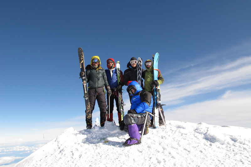 """Four """"client skiers"""" with Durny - group leader (very right). From left: John DM, John W, Tim, Durney, and me - below."""