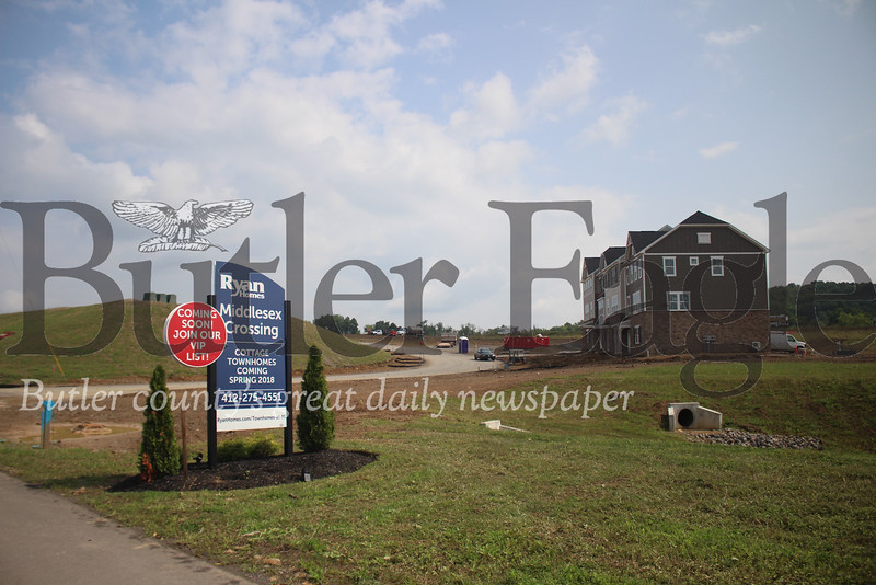 Soon-to-be township residents will soon be moving in as developers begin finishing construction on the first houses of Middlesex Crossing. (photo by caleb harshberger)
