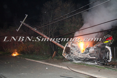 Lindenhurst F.D. Overturned Auto w/ Wires & Pole Down w/ Vehicle Fire 455 Park Ave. 5-2-13