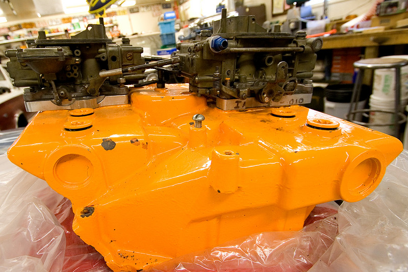 1965 426 race Hemi factory super stock cross ram carbs and magnesium intake manifold. (Chrysler made very, very few of these race only, cross ram manifolds and carburetor set ups) Very, very rare!