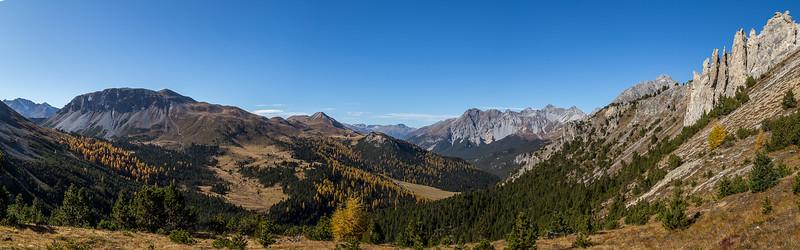 Auf dem Weg vom Ofenpass zur Alp Mora: Blick Richtung «Munt Buffalora» und «Piz dal Fuorn»