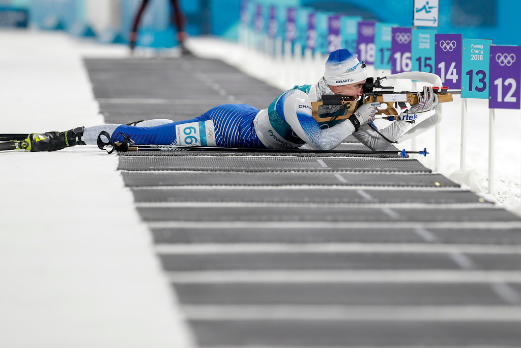 . Olli Hiidensalo, of Finland, shoots during the men\'s 10-kilometer biathlon sprint at the 2018 Winter Olympics in Pyeongchang, South Korea, Sunday, Feb. 11, 2018. (AP Photo/Andrew Medichini)