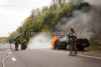 Route 8 South Car Fire (Shelton, CT) 4/28/12