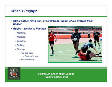Rugby - Peninsula Green HS Rugby Club - Overview