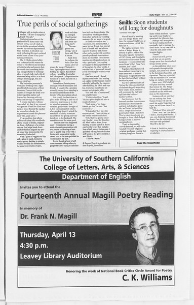Daily Trojan, Vol. 139, No. 57, April 13, 2000