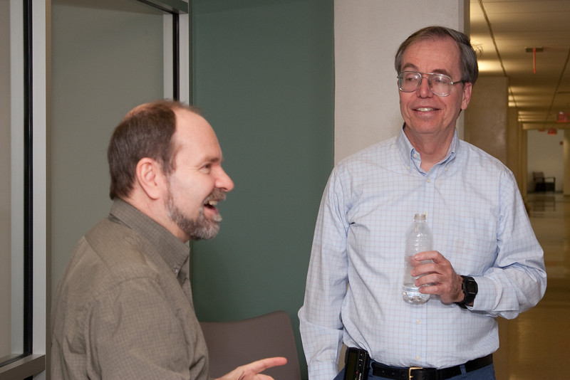 Scott Barthelmy and Frank Marshall -- March 2011 new staff welcome coffee, Astrophysics Science Division, NASA/ Goddard Space Flight Center