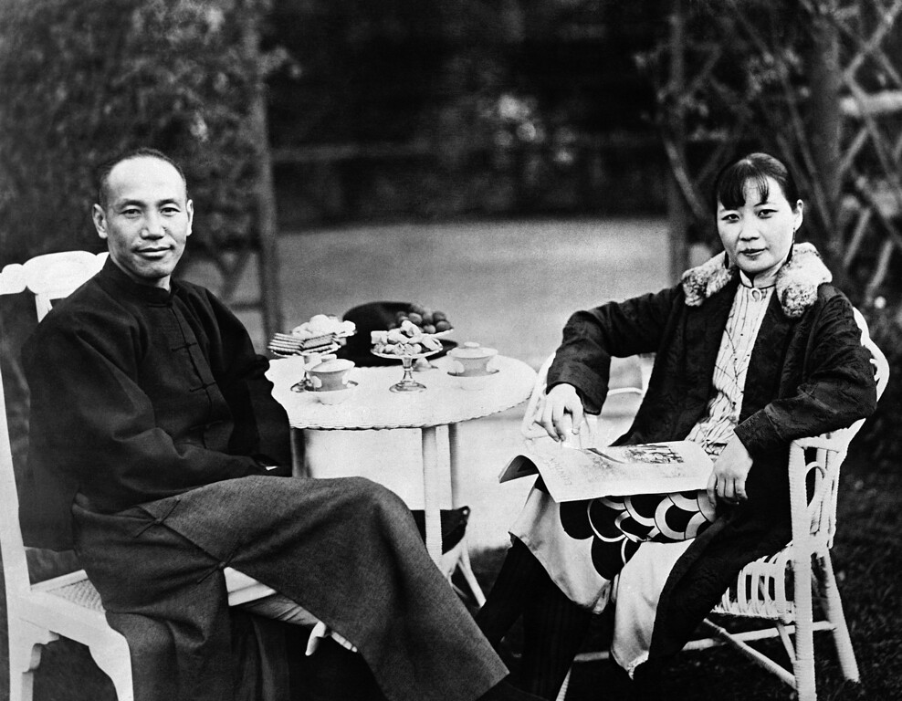 . 1937: Chiang Kai-shek and Soong Mei-ling. Gen. Chiang Kai-shek and his wife, Soong Mei-ling, are photographed in the garden of their home at Nanchang, China, on April 19, 1937. Chiang Kai-shek, also known as Jiang Jieshi, succeeded Sun Yat-sen as leader of the National People\'s Party, KMT. Mei-ling Soong is a graduate of Wellesley College in the U.S.A. (AP Photo)