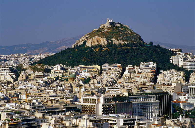 Downtown Athens with Lycabettus Hill