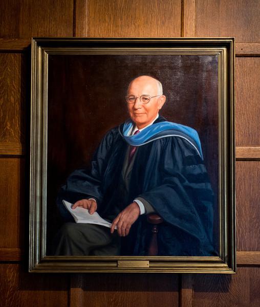 Warren Holmstedt president portrait in Heritage Lounge