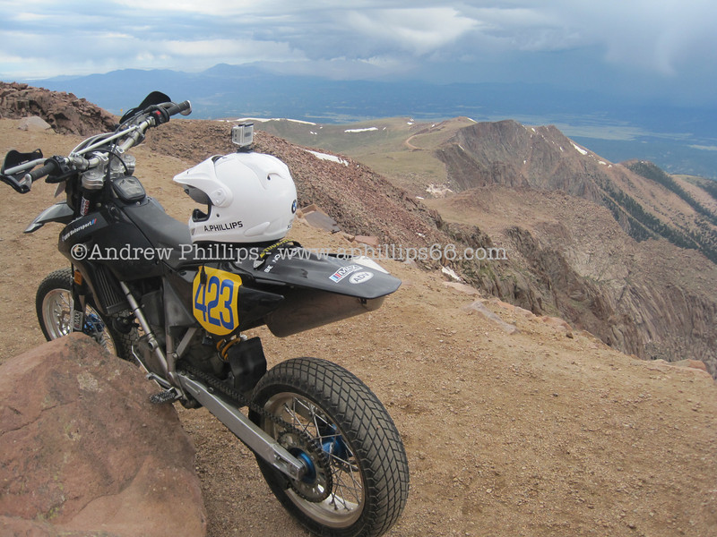 2009 BMW G450X.  Shown here at the summit of Pikes Pike in Colorado.  This was just after completing the hill climb race in 2010.